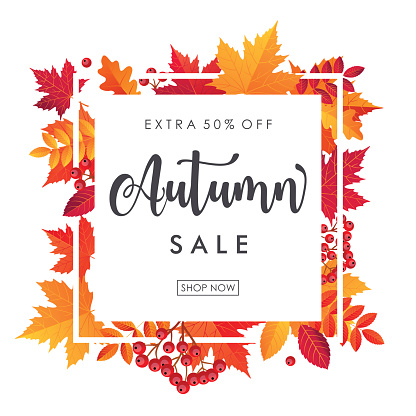Autumn Leaves Sale Square Frame. Vector illustration template
