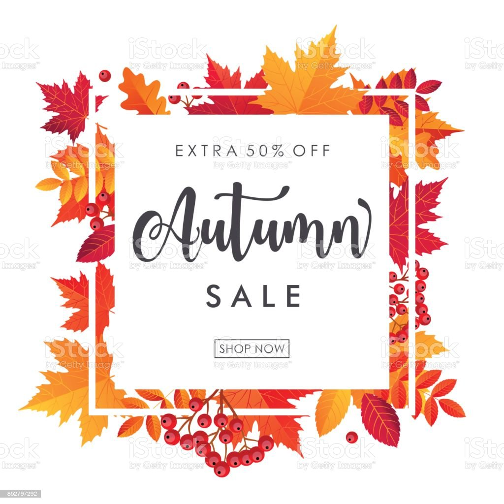 Autumn Leaves Sale Square Frame. Vector illustration template - illustrazione arte vettoriale