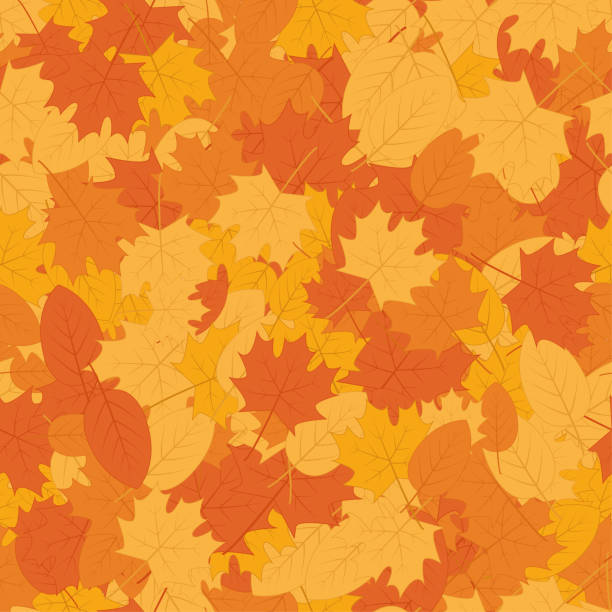 Autumn leaves seamless pattern background - Vector Leaves repeat pattern background fall background stock illustrations