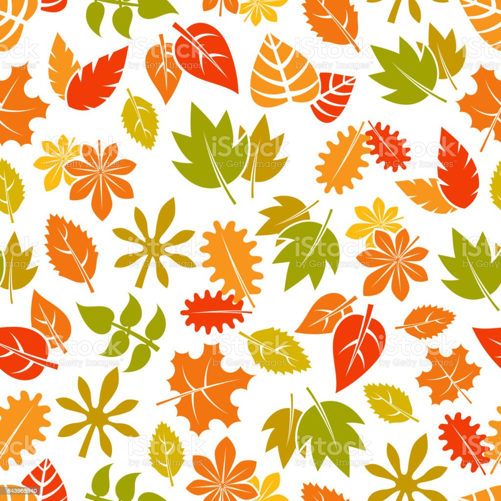 - Autumn Leaves Seamless Pattern Colorful Fall Foliage Background