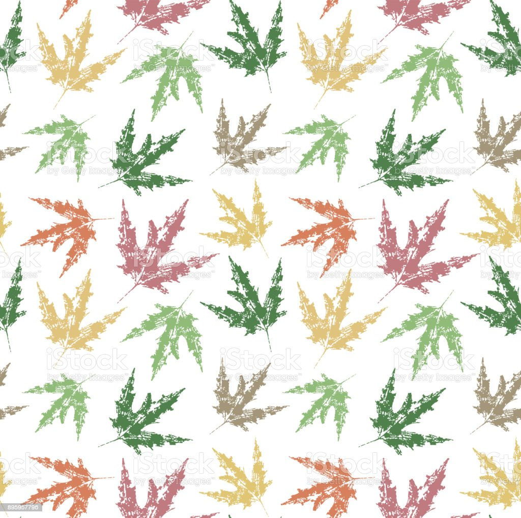 Autumn leaves. Seamless pattern of colorful leaves on white background. Vector illustration vector art illustration