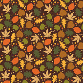 Fall foliage and dots in autumn colors