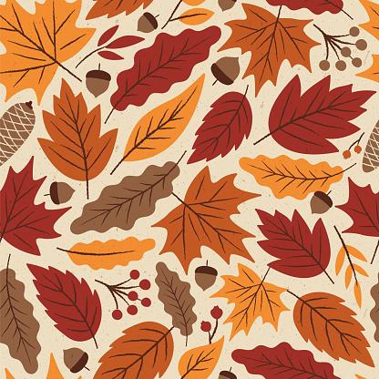 Autumn Leaves seamless pattern.