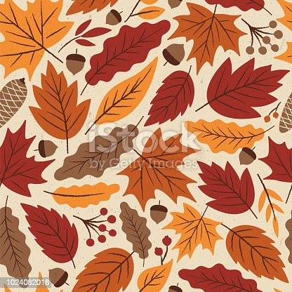 Autumn Leaves seamless pattern - Illustration