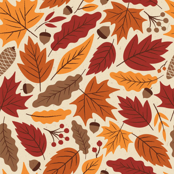 illustrazioni stock, clip art, cartoni animati e icone di tendenza di autumn leaves seamless pattern. - foglie
