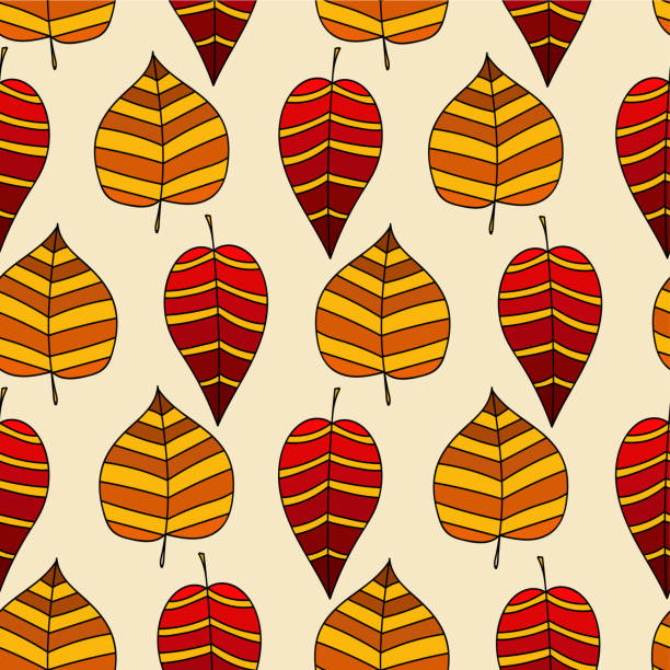 autumn leaves seamless pattern - stripped pattern stock illustrations, clip art, cartoons, & icons