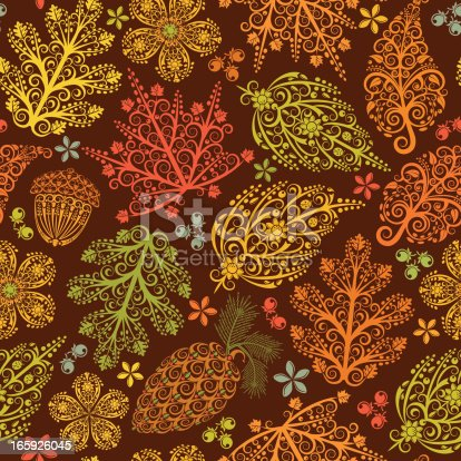 Autumnal colors of lacy fall leaves, pine cones, acorns, berries, and dried flowers. Seamless pattern.