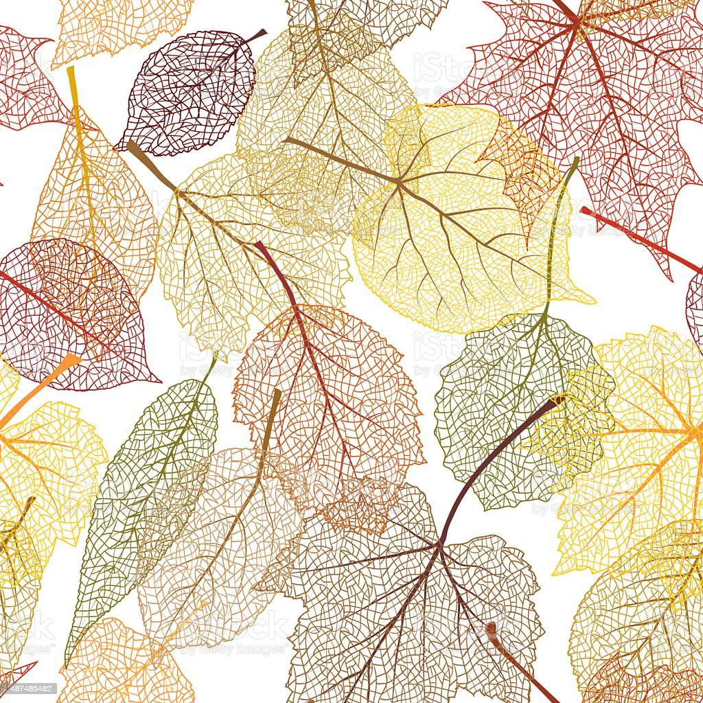 Autumn leaves seamless pattern