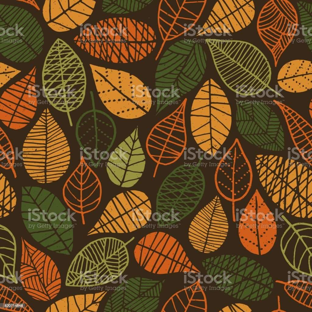 Autumn Leaves seamless pattern vector art illustration