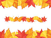 These are the backgrounds and line material created by composing autumn leaves (Maple, ginkgo, zelkova) illustrations.
