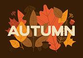 Autumn text cutout leaves.