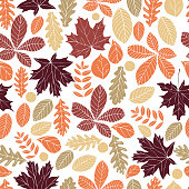 Autumn leaves. Vector seamless pattern