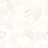 Autumn leaves seamless pattern, hand-painted in watercolor.