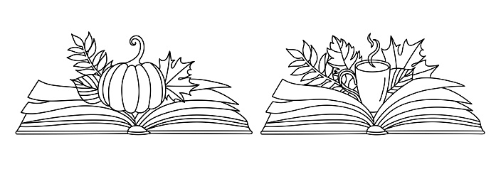 Autumn leaves with a book in a line art style.