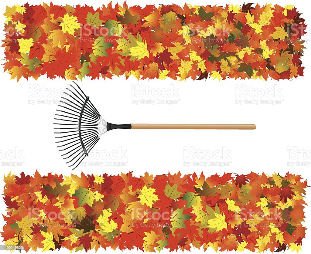 Autumn Leaves With Rake vector art illustration