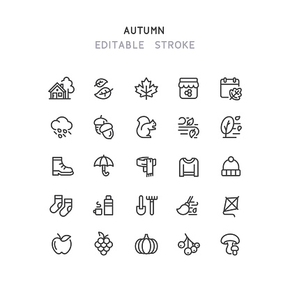 Autumn Line Icons Editable Stroke