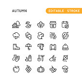 Set of autumn line vector icons. Editable stroke.