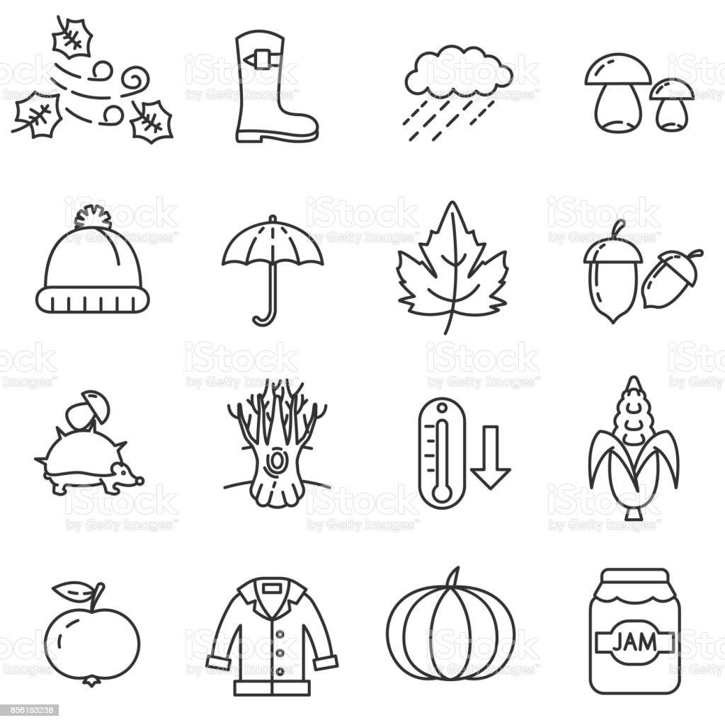 Autumn linear icons set.