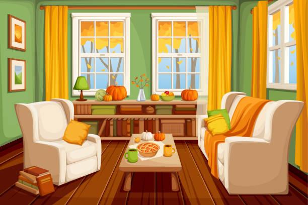 herbst wohnzimmer interieur. vektor-illustration. - wohnzimmer gemütlich stock-grafiken, -clipart, -cartoons und -symbole
