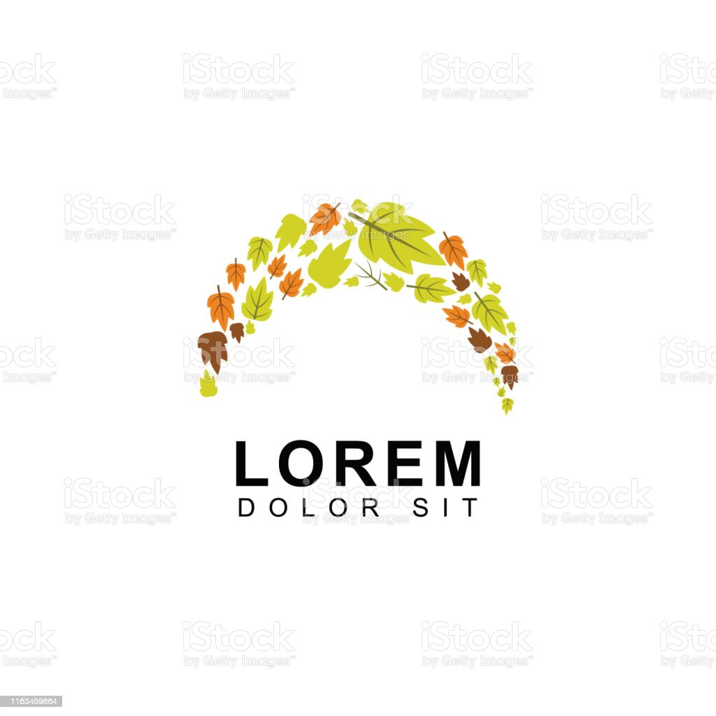 Autumn Logos With Brown And Green Leaves Forests Cherries Seasonal