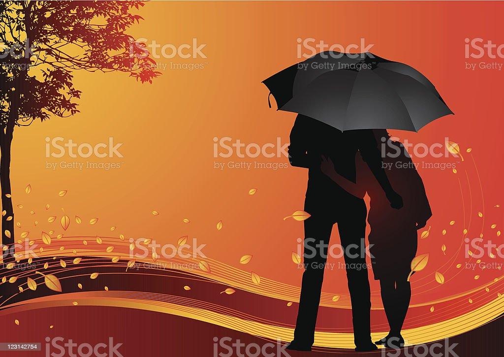 Autumn lovers vector art illustration