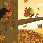 autumn love.squirrel fall gift happy vector illustration