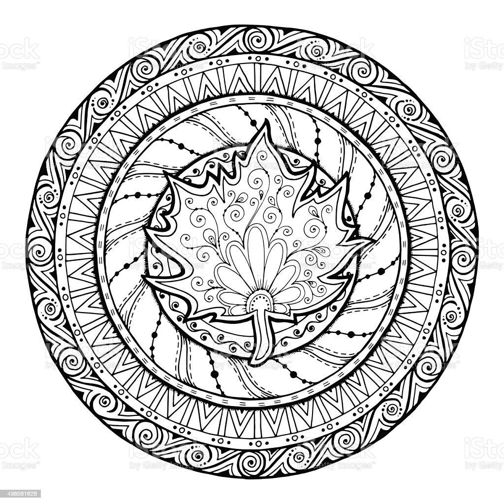 Otoño Mandala Tribal Garabato Con Hoja De Arce - Arte vectorial de ...