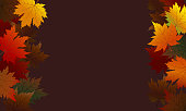 Autumn maple leaves on brown background with copy space vector illustration