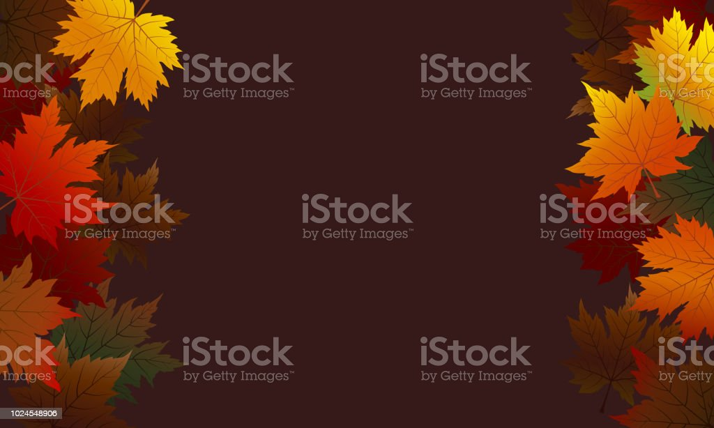 Autumn maple leaves on brown background with copy space vector illustration vector art illustration