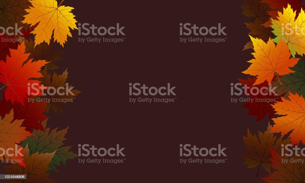 Las hojas de otoño Arce sobre fondo marrón con ilustración de vector de espacio de copia - ilustración de arte vectorial