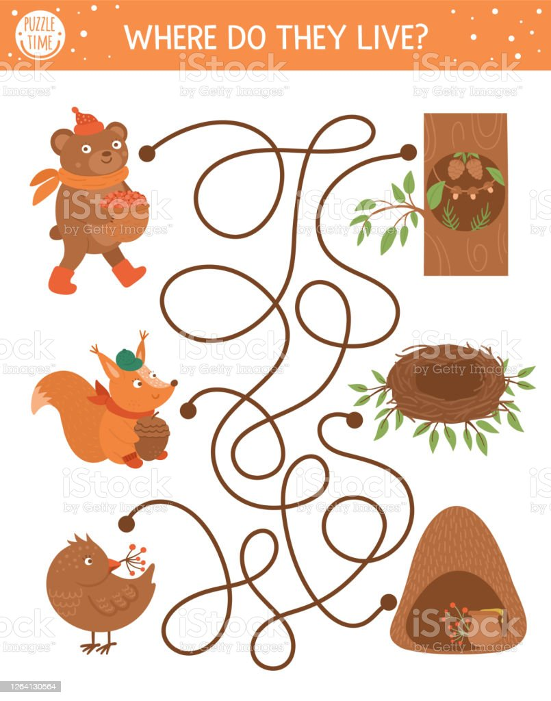 Autumn Maze For Children Preschool Printable Educational Activity Funny Fall Season Puzzle With Cute Woodland Animals And Their Homes Where Do They Live Forest Game For Kids Stock Illustration Download Image Where do these animals live? https www istockphoto com vector autumn maze for children preschool printable educational activity funny fall season gm1264130564 370162828
