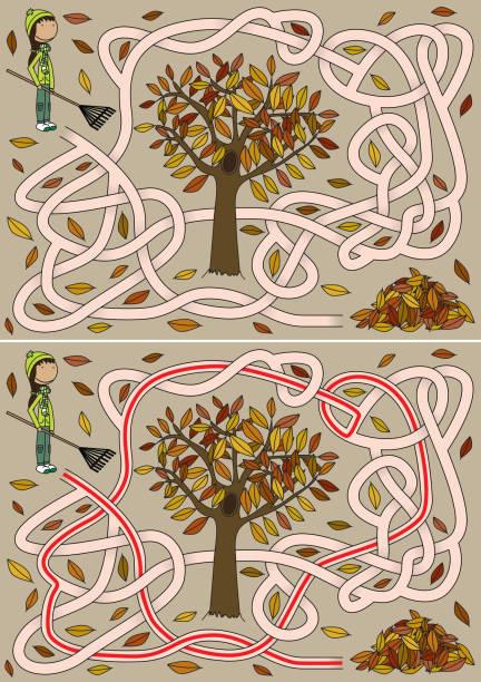 Labirinto de outono - ilustração de arte em vetor