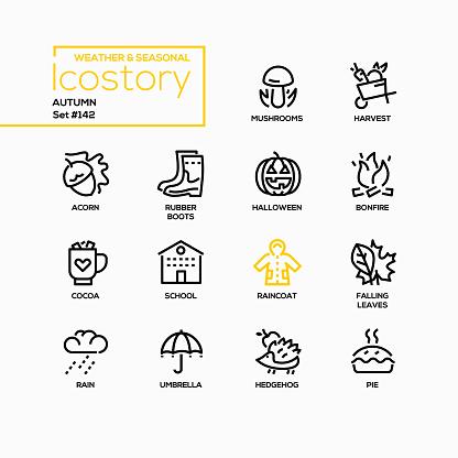 Autumn - modern line design style icons set
