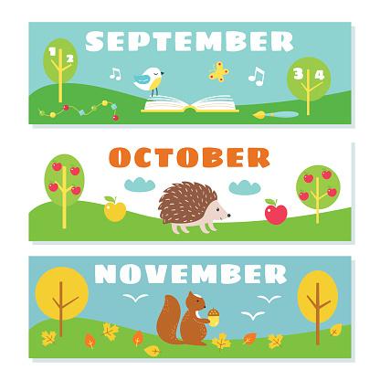 Autumn Months Calendar Flashcards Set. Nature and Symbols Illustrations