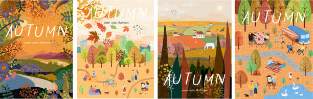 Autumn nature. Cute vector illustration of landscape natural background, village, people on vacation in the park at a picnic, forest and trees. Drawings from the hand vector art illustration