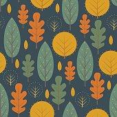 Autumn nature seamless pattern on dark blue background.