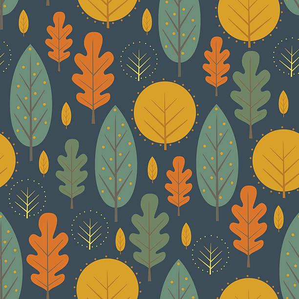 Autumn nature seamless pattern on dark blue background. - Illustration vectorielle