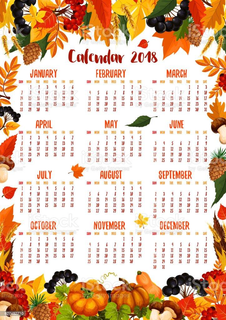 autumn nature vector 2018 calendar template stock vector art 827452710 istock. Black Bedroom Furniture Sets. Home Design Ideas