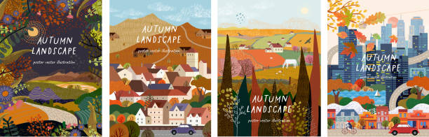 Autumn nature, village, country, city landscapes. Vector illustration of natural, urban and rustic background for poster, banner, card, brochure or cover. vector art illustration