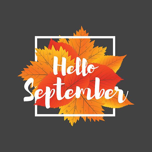 autumn new season hello september. lettering with hand drawn letters. - hello stock-grafiken, -clipart, -cartoons und -symbole