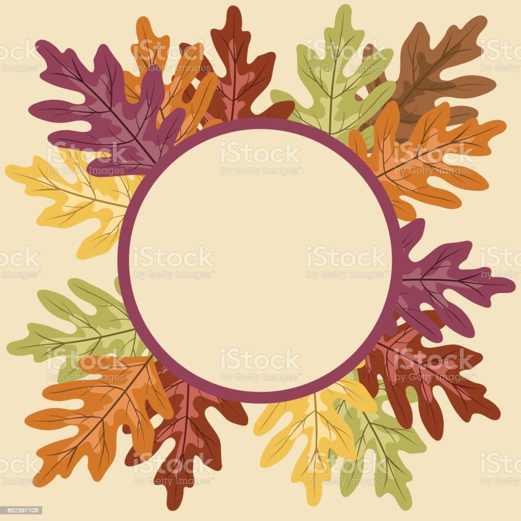 autumn oak leaf frame with copy space stock vector art more images rh istockphoto com
