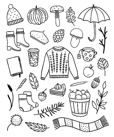 Autumn outline vector illustrations on white background. Hand drawn seasonal elements and symbols. Lifestyle hygge objects