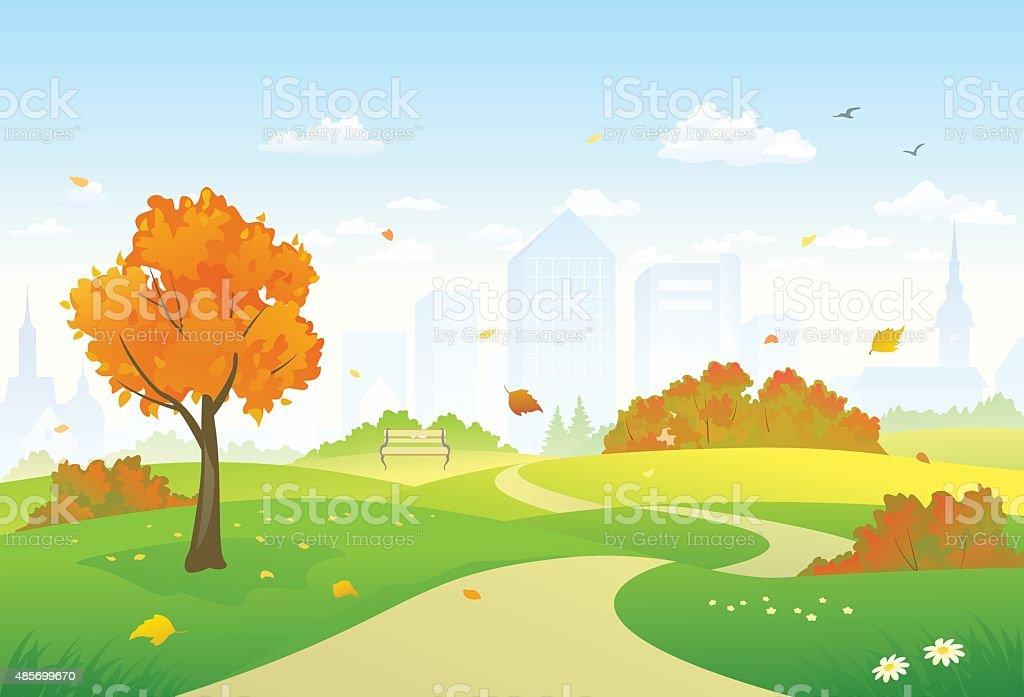 Autumn park alley vector art illustration