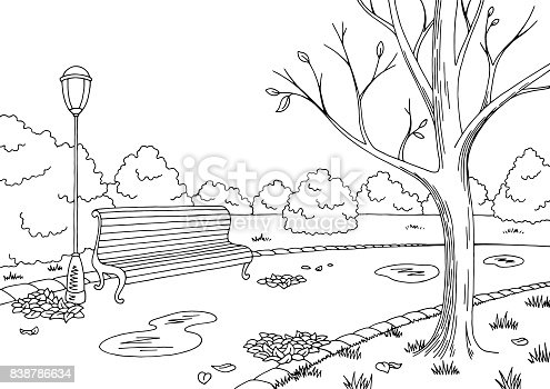 Autumn park graphic black white landscape sketch illustration vector