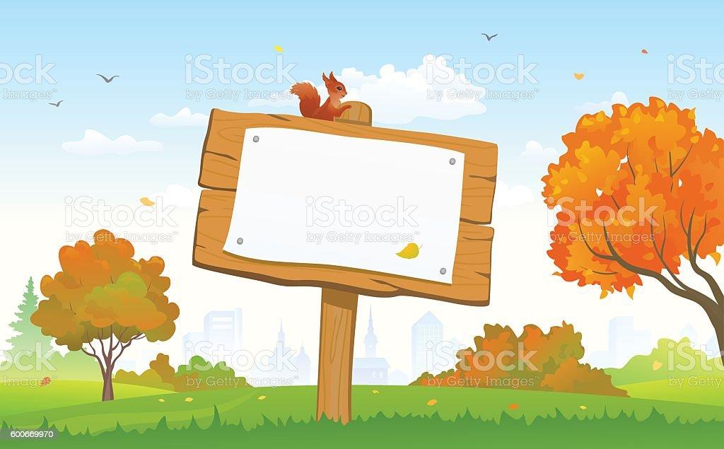 Autumn park signboard vector art illustration