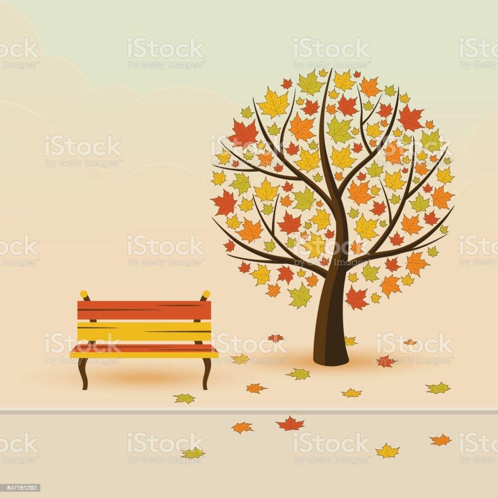 Autumn park vector art illustration