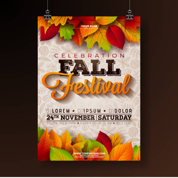 autumn party flyer illustration with falling leaves and typography design on doodle pattern background. vector autumnal fall festival design for invitation or holiday celebration poster. - autumn stock illustrations