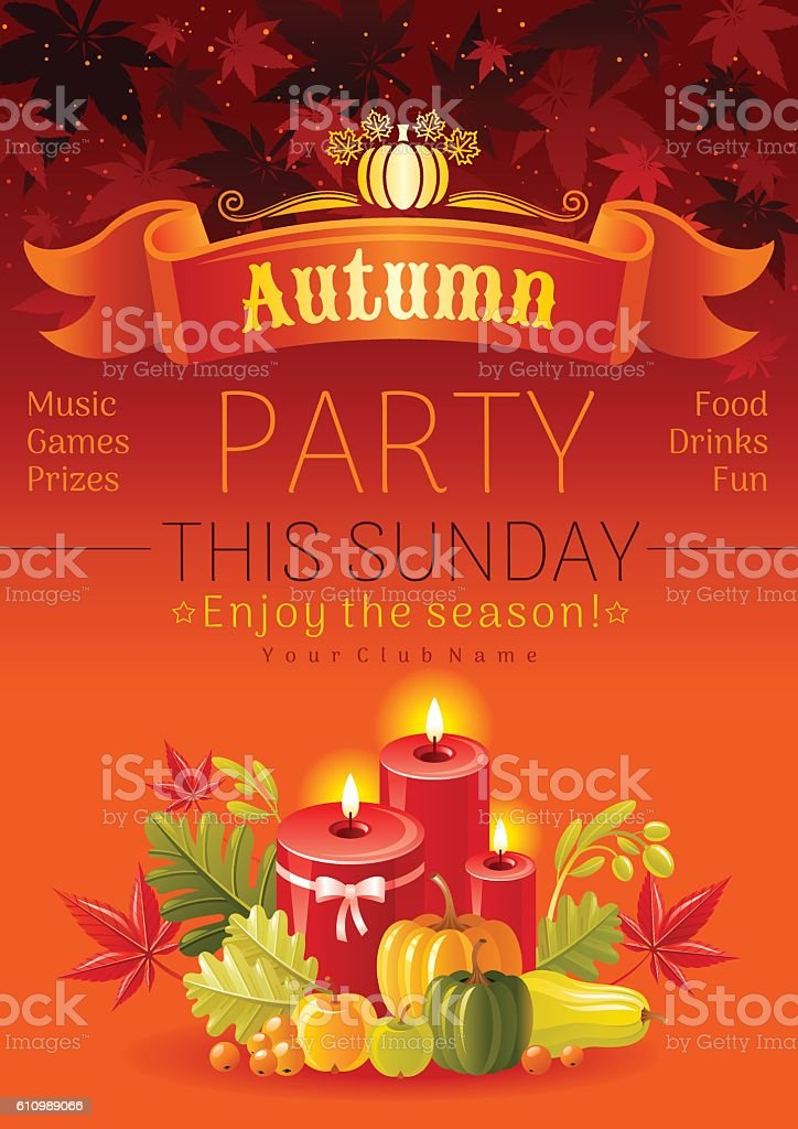 Autumn party poster for fall family holiday. Vector background illustration vector art illustration