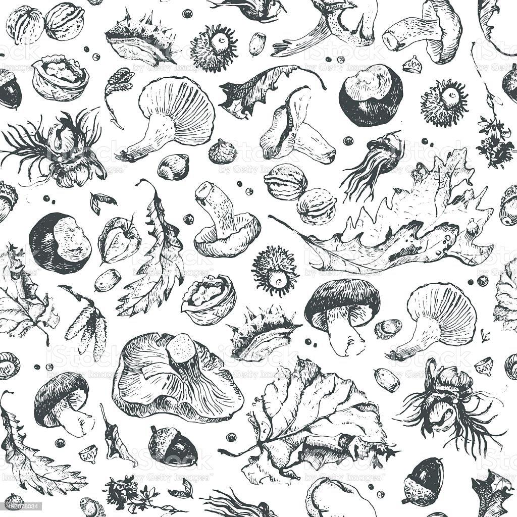 Autumn pattern vector art illustration