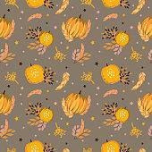 Autumn pattern with pumpkins, foliage, wheat, rye. Seamless background. Halloween, thanksgiving style.